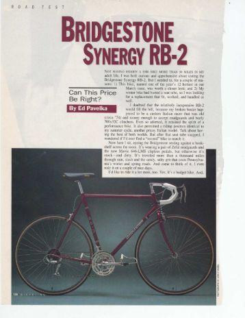 1990 Bridgestone RB2 Synergy Review - Sheldon Brown