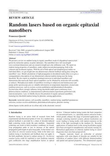 Random lasers based on organic epitaxial nanofibers