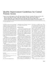 Quality Improvement Guidelines for Central Venous Access