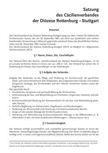 Satzung des Cäcilienverbandes der Diözese Rottenburg – Stuttgart