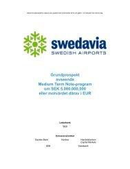 Grundprospekt avseende Medium Term Note-program ... - Swedavia