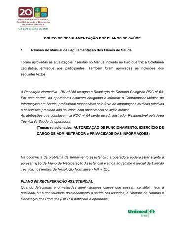 Regulamentação dos Planos de Saúde - Unimed do Brasil