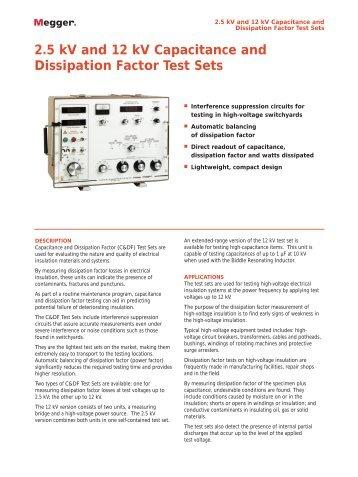 Capacitance and dissipation factor test sets. - Surgetek
