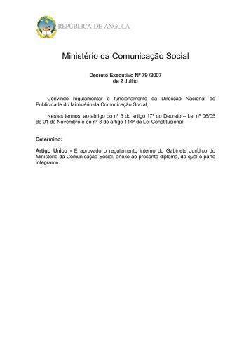 Regulamento Interno da Direcção Nacional de Publicidade - saflii