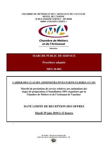 MARCHE PUBLIC DE SERVICE Procédure adaptée MFS 10-003 ...