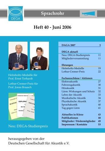 Sprachrohr Heft 40 - Juni 2006 - Deutsche Gesellschaft für Akustik eV