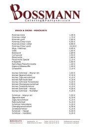 SNACK & DRINK - Bossmann - Catering und Partyservice