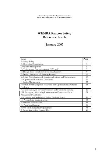WENRA Reactor Safety Reference Levels January 2007
