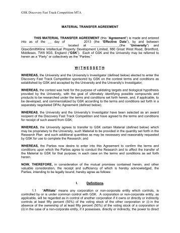 Material Transfer Agreement Mta