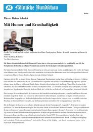 Mit Humor und Ernsthaftigkeit - Rainer Schmidt