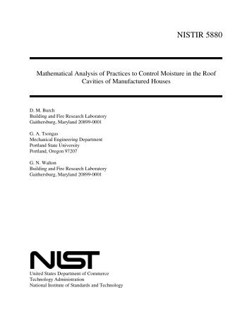 Mathematical Analysis of Practices to Control Moisture in the Roof ...