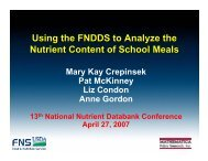 Using the FNDDS to Analyze the Nutrient Content of School Meals ...