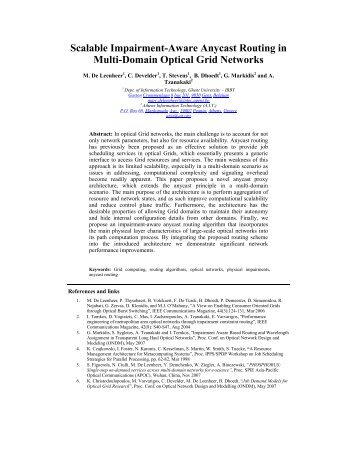 Scalable Impairment-Aware Anycast Routing in Multi ... - Phosphorus