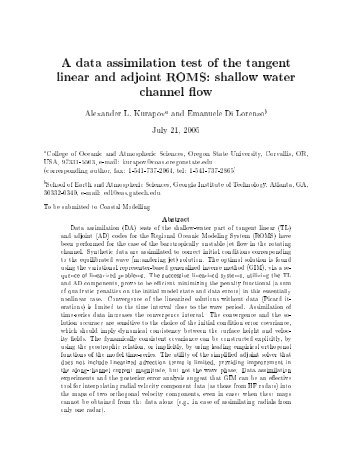 data assimilation test of the tangent linear and adjoint ROMS ...