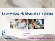 Du laboratoire à la clinique - Québec International