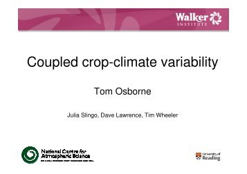 Coupled crop-climate variability - JULES