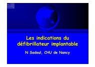 Les indications du défibrillateur implantable