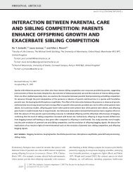 interaction between parental care and sibling competition - BioOne