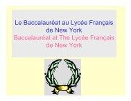 Le Baccalauréat au Lycée Français de New York Baccalauréat at ...