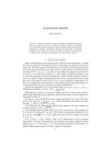 Calculation of adjacency matrix of a Ramanujan graph