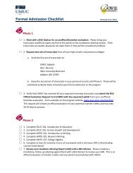 Formal Admission Checklist - UMUC Asia