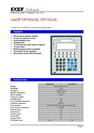 UniOP CP10G-04, CP11G-04 - Hiflex