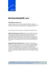 Beschwerdestatistik 2012 - Mountain Wilderness Schweiz