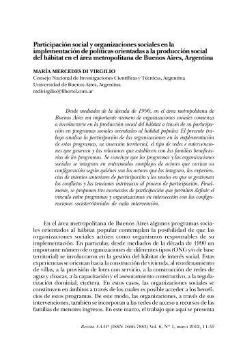 Participación social y organizaciones sociales en la implementación ...