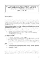 INTERVENTION DU MINISTRE DU TRAVAIL, DE L ... - UNSA-Itefa
