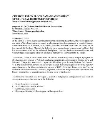 curriculum on flood damageassessment of cultural heritage properties