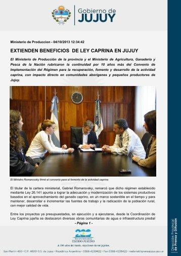 extienden beneficios de ley caprina en jujuy - Dirección de Prensa