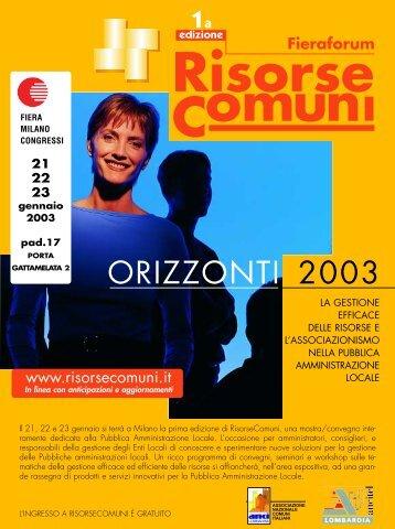 RisorseComuni. Prima edizione 21, 22 e 23 gennaio 2003