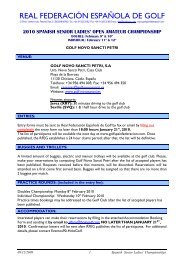 Information and entry form - Real Federación Española de Golf