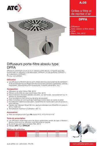 Diffuseurs porte-filtre absolu type DPFA - Air Trade Centre