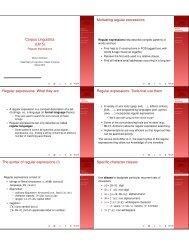 Corpus Linguistics (L615) Motivating regular ... - Indiana University