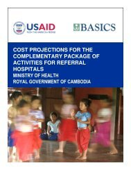 Cost Projections for the Complementary Package of Activities - basics