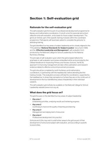 Section 1: Self-evaluation grid