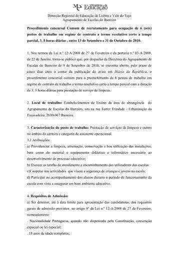 Procedimento concursal comum de recrutamento para ocupação de ...