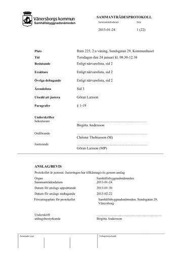 SAMMANTRÄDESPROTOKOLL 2013-01-24 1 - Vänersborgs kommun