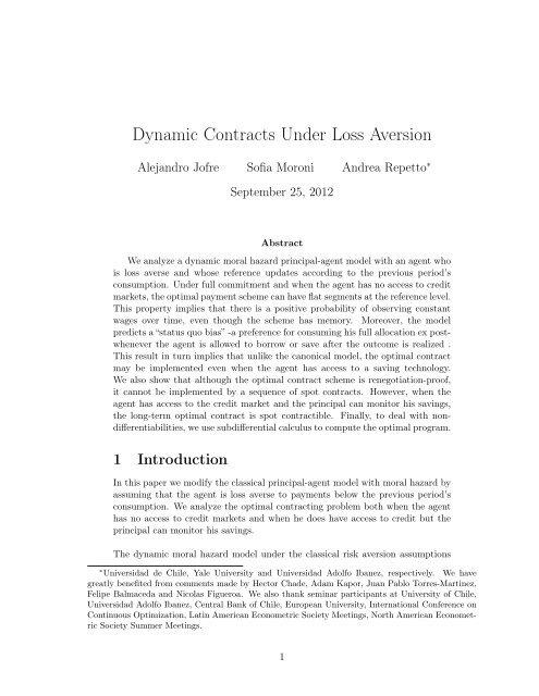 Dynamic Contracts Under Loss Aversion - Universidad Adolfo Ibañez