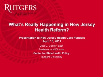 8730 - Center for State Health Policy, Rutgers University
