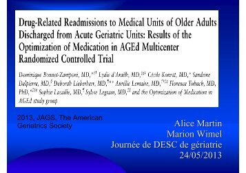 Dr Martin /Wimel : Réadmissions pour iatrogénie ... - PIRG