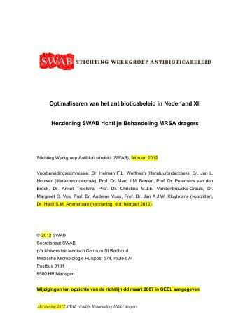 Herziening SWAB-richtlijn Behandeling MRSA ... - Kwaliteitskoepel
