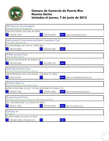Lista de Nuevos Socios - Cámara de Comercio de Puerto Rico