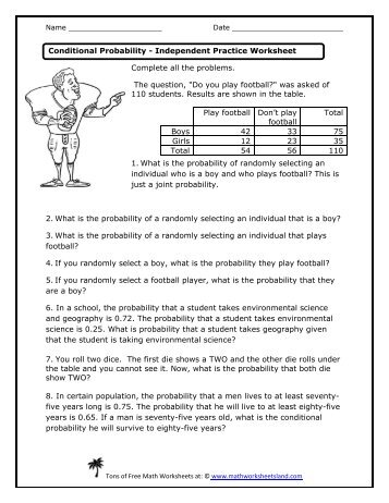 Relative Conditional Probability Independent Practice Worksheet