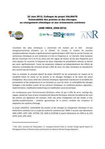 22 Juin 2012, Colloque du projet VALIDATE - Inra