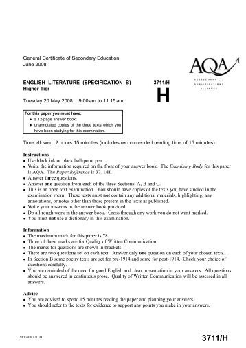 higher english past paper essay questions Gcse from 2010 english literature question paper , literature, mark schemes, papers, past no comments english (edexcel) english (ocr.