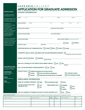 APPLICATION FOR GRADUATE ADMISSION - Lake Erie College