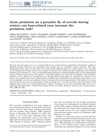 Avian predation on a parasitic fly of cervids during winter: can host ...