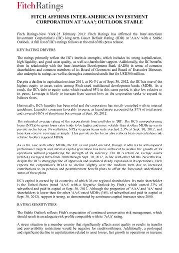 Summary report - Inter-American Investment Corporation